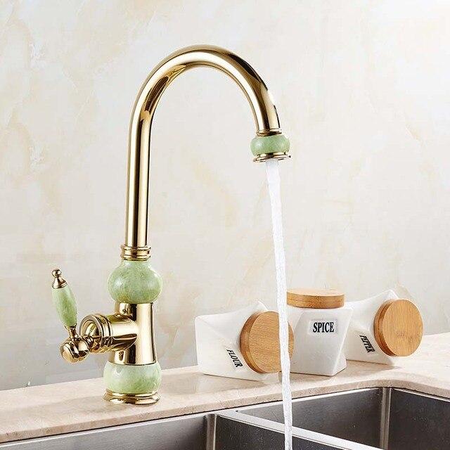 Jade estilo color dorado cocina grifo del fregadero monomando agua ...