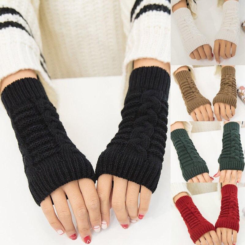 Womens Ladies Men Winter Wrist Arm Hand Warmer Knitted Long Mitten Stretch Elastic Half Finger Fingerless Gloves