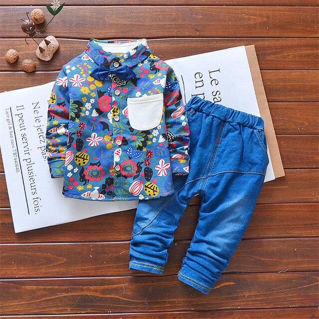 8a80192bff429 الأولاد وتتسابق الملابس مجموعات 2018 الخريف الربيع الخريف ملابس أطفال  مجموعة شهم الطفل الأزهار 2 قطعة بدلة طفل التعادل التي شيرت + الجينز
