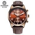Ochstin mens relojes de primeras marcas de lujo reloj de los hombres de cuero genuino hombres del deporte del cuarzo militar reloj de pulsera de reloj masculino del relogio