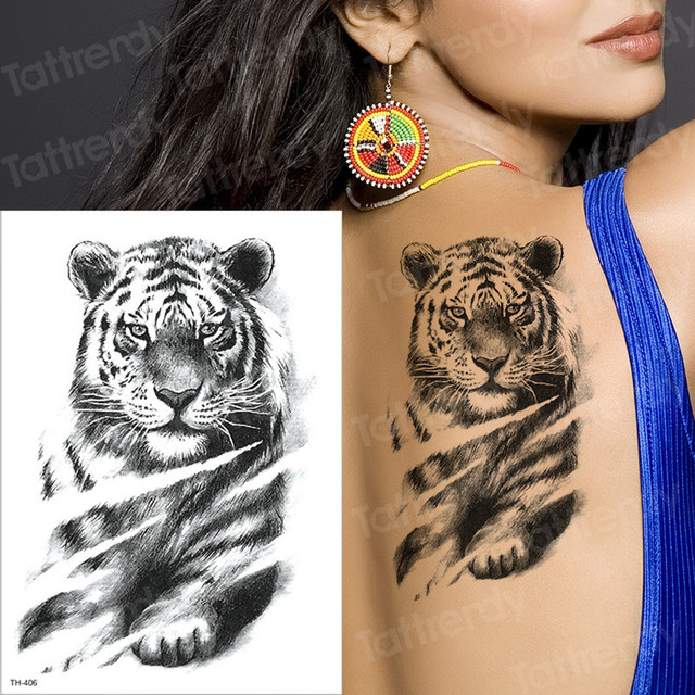 Waterproof Temporary Tattoos Sleeve Wholesale Tattoo Tiger Head
