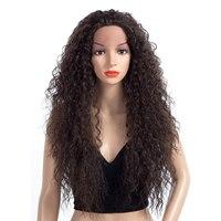Длинные Синтетические волосы на кружеве парик синтетических кудрявый парики для Для женщин жаропрочных коричневый афро натуральных волос