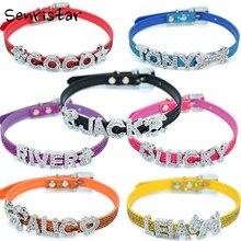 Bling Pet collari personalizzati in pelle PU per cani di piccola taglia nome gratuito personalizzato Cat Dog Puppy Pet nome collare fibbia diamantata