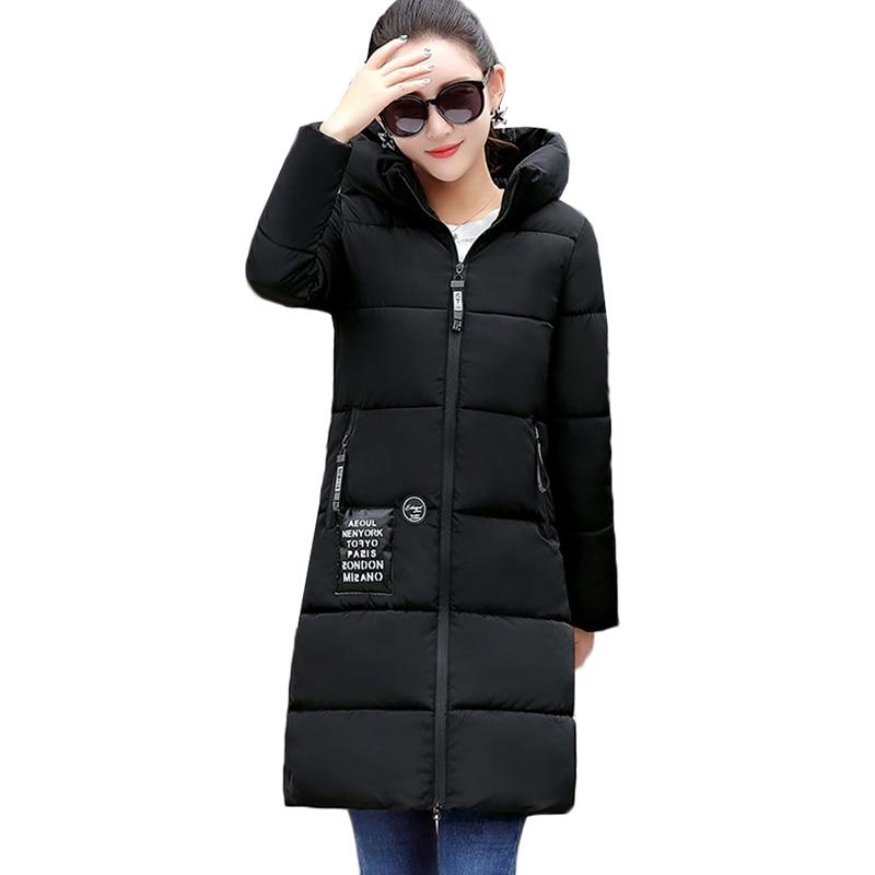 2019 NEW Winter Jacket Women Hooded Warm Cotton Coat Padded Female Slim Long Jacket Women   Parka   Outwear Plus Size Ladies Coat