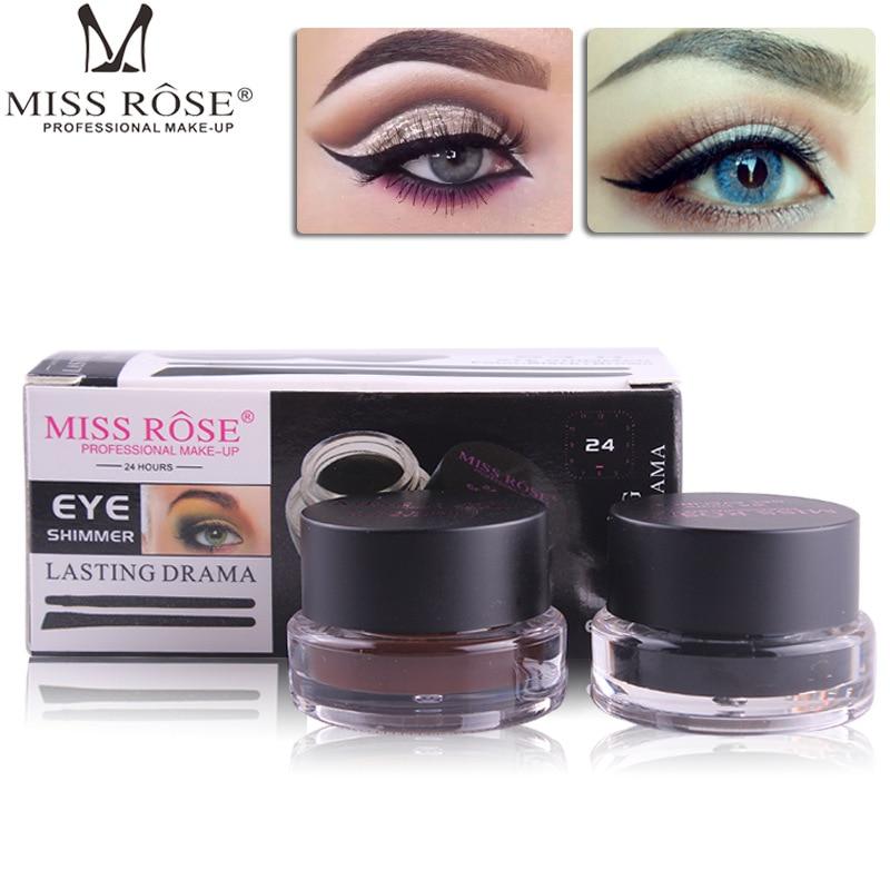 Miss Rose 2 In1 Eye Makeup Black and Brown Eyeliner Gel Eyebrow Cream with Brush 24 Hours Long-Lasting Smudge-proof Eye Liner
