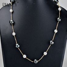 New Fashion black shell Imitation pearl necklace Sweater chain two-tone Female 8mm 10mm Gradient 60cm