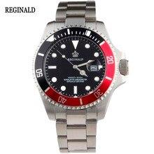 Lujo Reloj Reginald Hombres Bisel Giratorio GMT Fecha de Zafiro Mujeres Deporte dial negro Reloj de Cuarzo de Acero Inoxidable Reloj Hombre