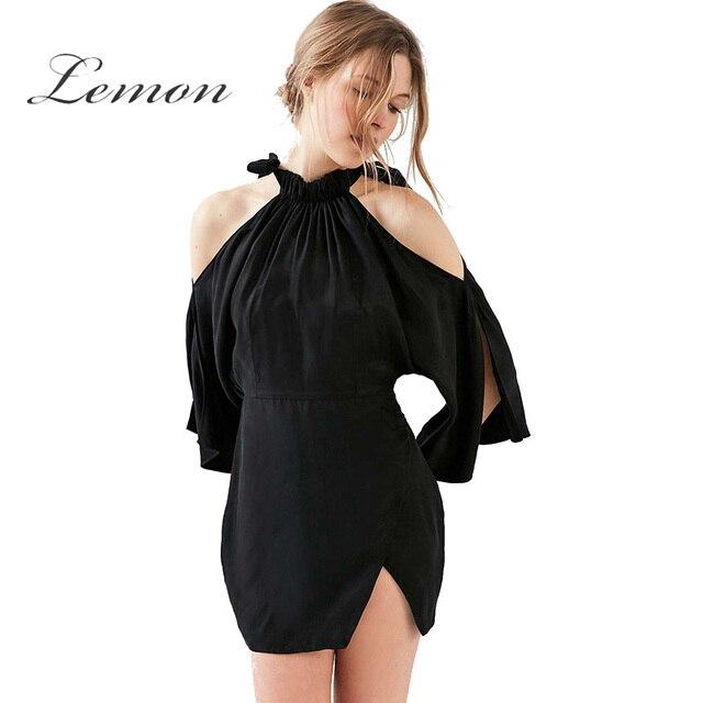 f1b507b218b Limón 2018 negro fuera del hombro Halter mini vestido de las mujeres ropa  casual flojo acanalado