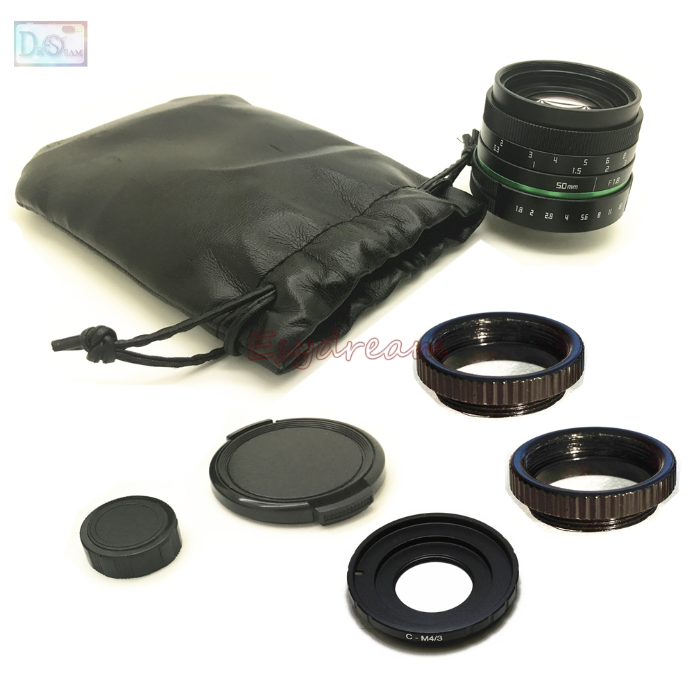 50mm F1 8 Manual Lens C Mount Adapter Macro Rings Kit for Olympus Panasonic M43 MFT