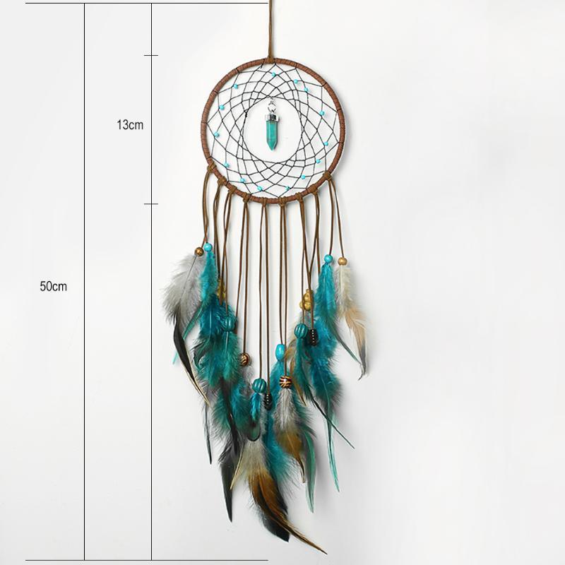 Attrape rêves plumes, cordes de velours, perles de bois, turquoise, dimensions