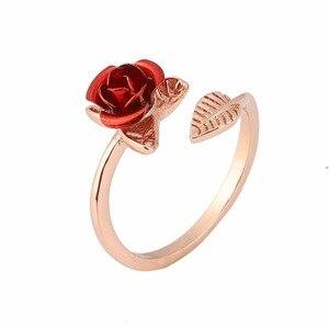 Rojo rosa jardín flor hojas anillos de dedo resistentes para mujeres Día de San Valentín regalo joyería Venta caliente 2019 anillo abierto
