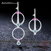 ANFASNI New 925 Sterling Silver Luxury Vintage Korea Style Asymmetry Long Earrings With Round Circle CZ