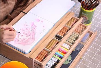 Buk szuflada drewniana podstawka sztaluga zestaw biurko pudełko na farby olejowe szkic kredki schowek rysunek uchwyt szkicowanie Art Board tanie i dobre opinie CN (pochodzenie) WOOD Sztaluga do szkicowania