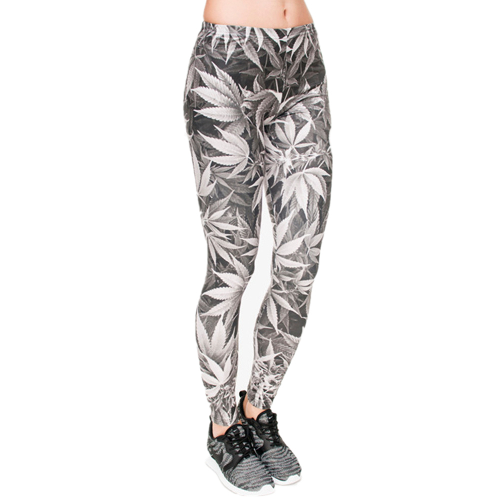 High Quality Leggings Women Gray Leaves Printing Fitness Legging Sexy Silm Fit Legins High Waist Trouser Women Pants