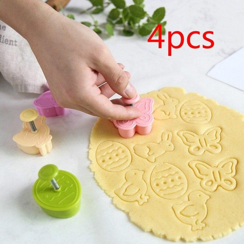4 sztuk/zestaw pisanka królik laska motyl plastikowe tłok kremówka zestaw do cięcia ciasteczek formy herbatniki Decor pieczenia ToolsSet