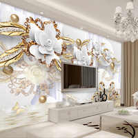 European Style 3D White Flowers Jewelry Luxury Wallpaper Photo Murals Living Room TV Sofa Hotel Background Wall Paper Home Decor