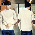 Men's solid color casual patch pullovers sweaters embroidered autumn winter pullover sweater men O-Neck slim for men