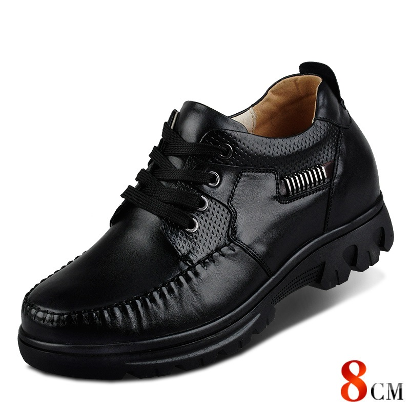 X9675 100% Genuine Leather Height Increasing Elevated Shoes with Hidden Insole Inserts Make Men Taller 8cm 2015 europe serpentine grain luxury fashion casual men shoes genuine leather height increasing 8cm taller flats for office 946
