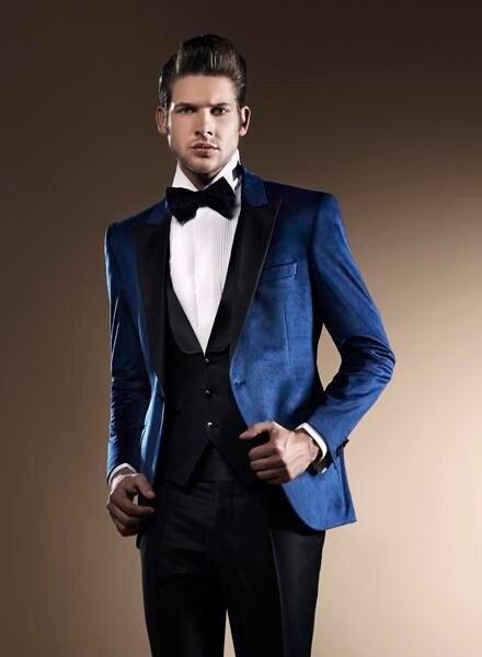 Peak groom dress blue suit lapel black man for three groomsmen man ...