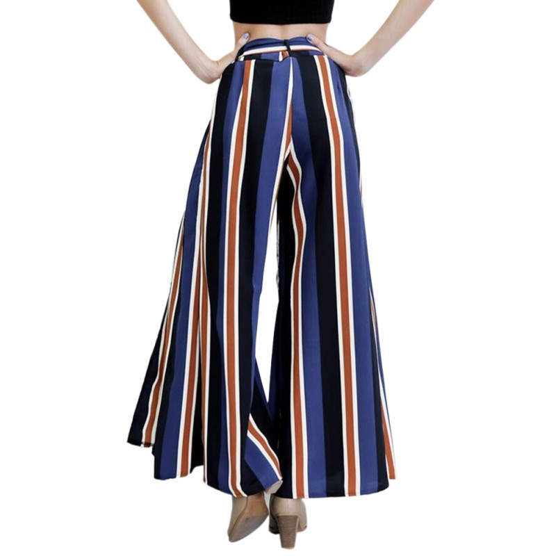 Fashion Women Colorful Striped Printed High Waisted Lounge Long   Pants   Sexy Slit Bow Tie   Wide     Leg     Pants