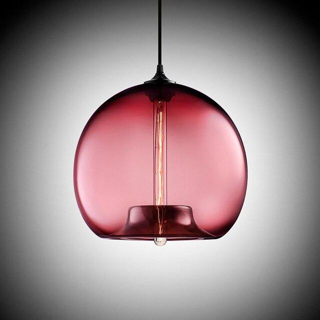 6 color Colourful glass ball led Pendant Lamps modern e27 / e26 led ...