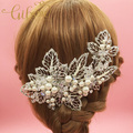 Free Shipping Maple Leaf and Beads Korean Style Big Size Bride Hair Clip Wedding Hair Accessories