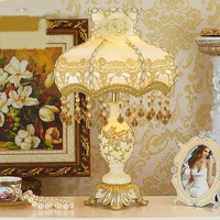 European style table lamp luxury bedroom bedside lamp Princess back to the ancients warm livingTable pastoral lace large ZL505