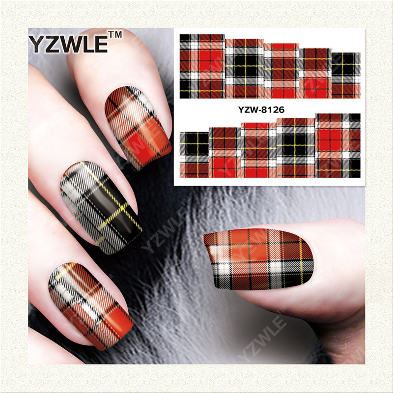 YZWLE  1 Sheet DIY Designer Water Transfer Nails Art Sticker / Nail Water Decals / Nail Stickers Accessories (YZW-8126) yzwle 1 sheet diy designer water transfer nails art sticker nail water decals nail sticker accessories yzw 8196
