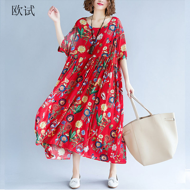 Womens Summer Fashion Plus Size Dress Cotton Linen 4XL 5XL 6Xl Women Big Floral Print Loose Casual Long Dresses New Arrival 2019