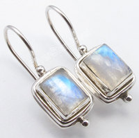 Pure Silver Natural RAINBOW MOONSTONE DANGLING Fix Wire Earrings 2 6 CM NEW