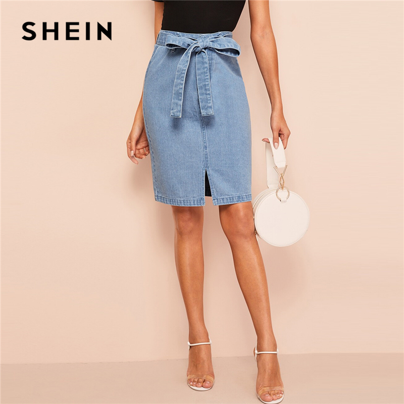 SHEIN Slit Front Belted Denim Skirt Women Summer Casual Fashion Shift Skirts Blue Solid Zipper Korean Style Skirts