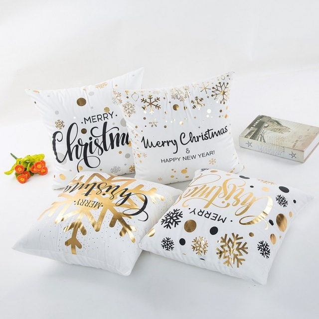 Feliz Navidad oro estampado Almohadas Tapas lámina de oro impresión ...