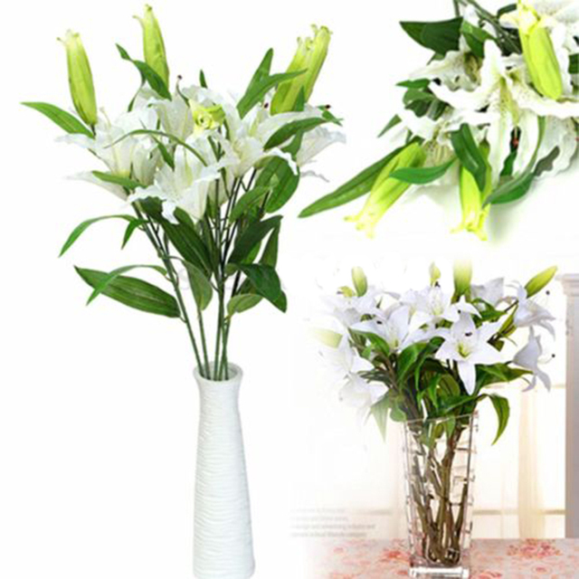 20976e3964ab 5Stem Artificial White Lily Flowers Plants Bouquet DIY Home Wedding Party  Decor