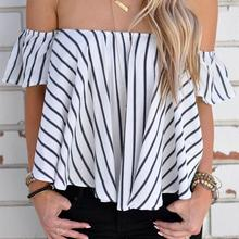 Women Blouses Shirts Tops Off Shoulder Stripe Casual Slim Fit Sexy Classic Summer S/M/L/XL Short Blouse Blusas Y Camisas Mujer