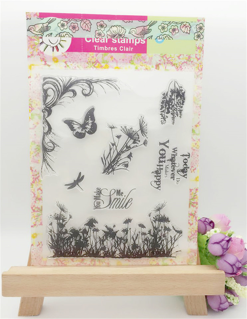 Scrapbook DIY photo album about butterfly and flowers rubber clear stamp transparent stamp aboutnavigation ship ocean LL-071 about