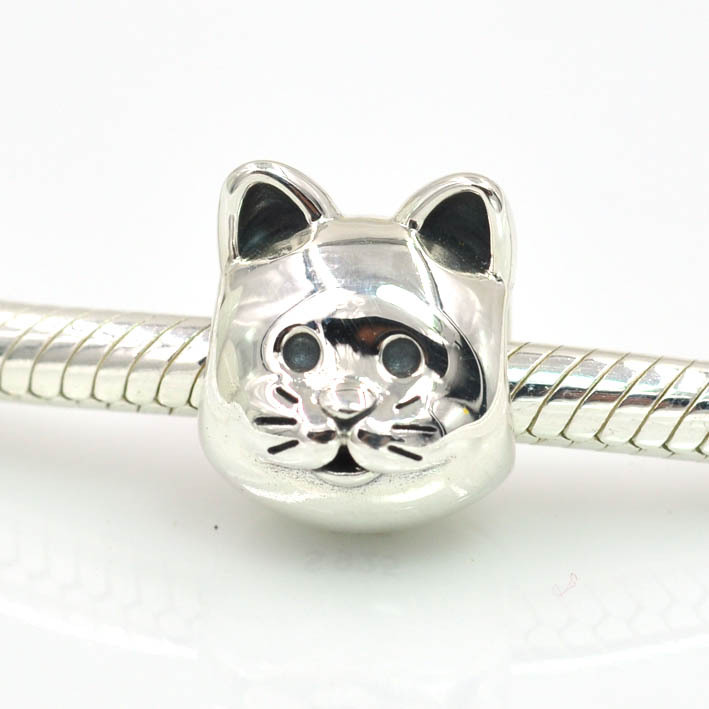 Authentic 925 Sterling Silver Meow Pet Cat Charm Bead Fits Pandora
