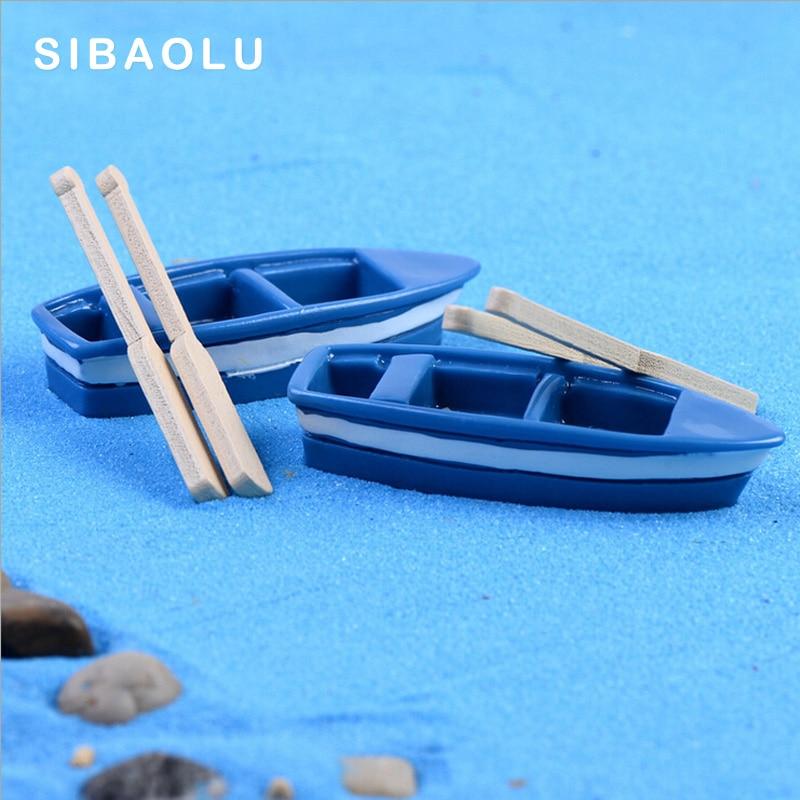 Blue Boat With Paddles Figures Decorative Figurine Mini Fairy Garden Aquarium Fish Tank Animal Statue Resin Craft TNB039