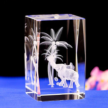 Elephant LASER ENGRAVING CRYSTAL night Light  With Changing Colors LED Base Laser Engraved