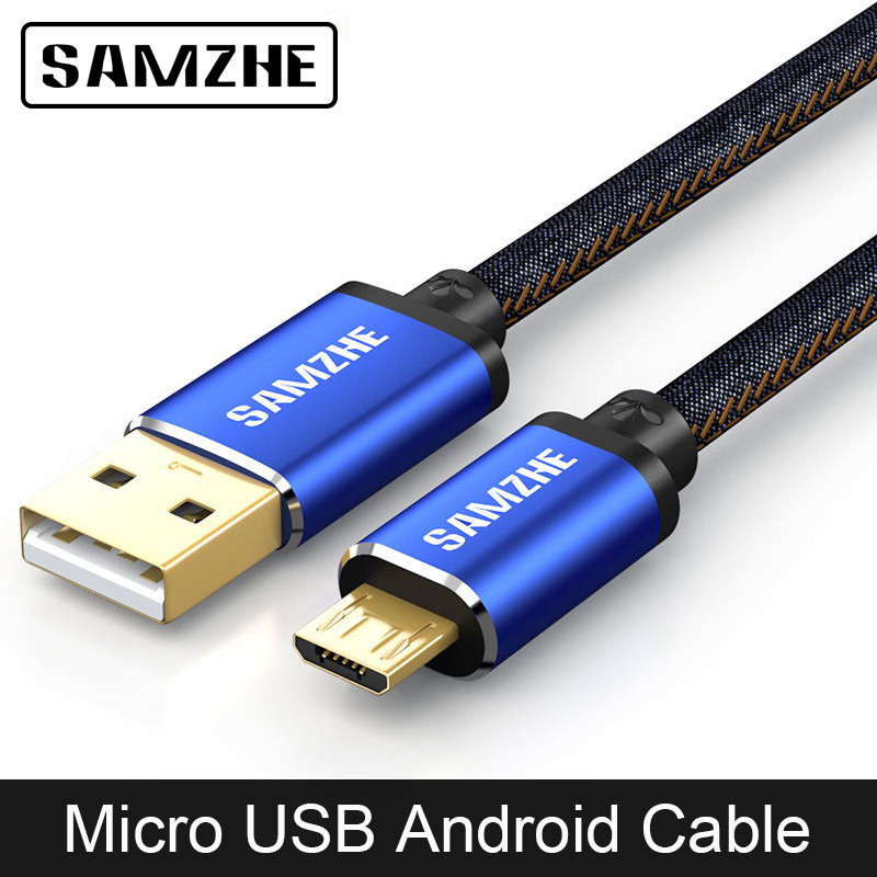 SAMZHE Micro USB Cable Jeans Fabric Fast Charging 5V 2A Andorid Phone Denim Cable for OPPO Vivo XiaoMi Huawei Samsung