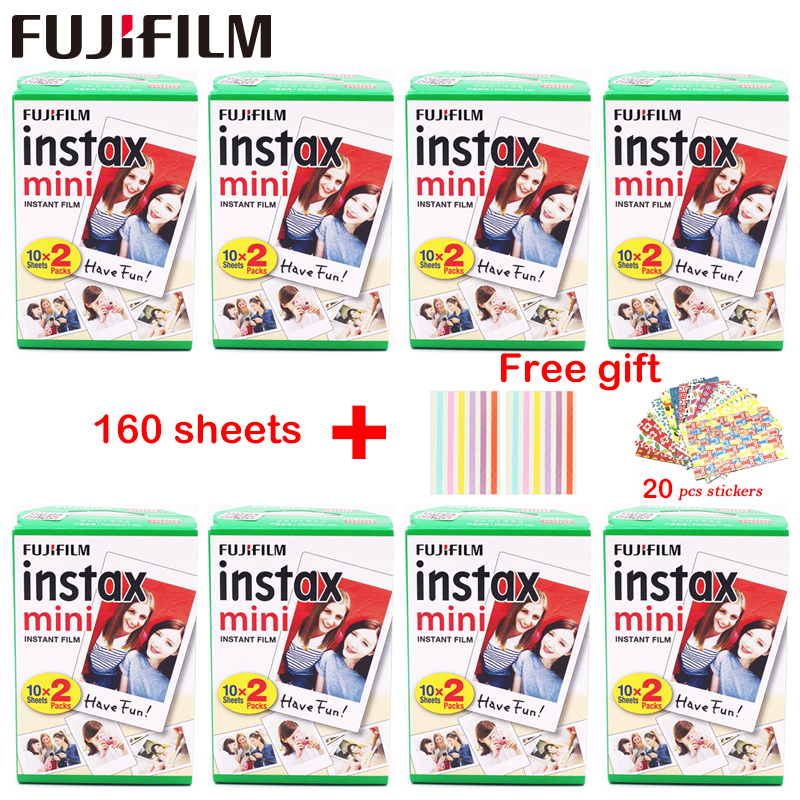 Original 160 Sheets Fujifilm Fuji Instax Mini White Film Instant Photo Paper For Instax Mini 8 9 70 25 Camera SP-1 2 + Free Gift fujifilm instax mini 9 camera 5 colors 10 shots fuji mini 9 instant film monochrome photo paper free shipping