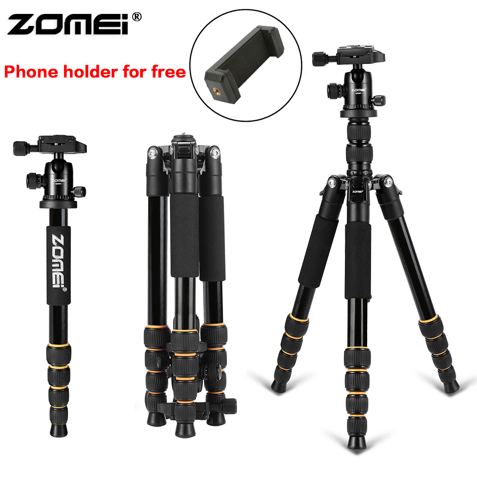 Zomei Aluminum Protable Q666 Professional Travel Camera Tripod Monopod Ball Head&Phone holder for DSLR Smartphone live broadcast free shipping camera protable professional mini tripod with ball head stand for smartphone holder for canon nikon dslr camera