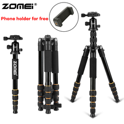 Zomei Aluminum Protable Q666 Professional Travel Camera Tripod Monopod Ball Head&Phone holder for DSLR Smartphone live broadcast