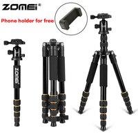 Zomei Aluminum Protable Q666 Professional Travel Camera Tripod Monopod Ball Head&Phone holder for DSLR Smartphone live broadcast