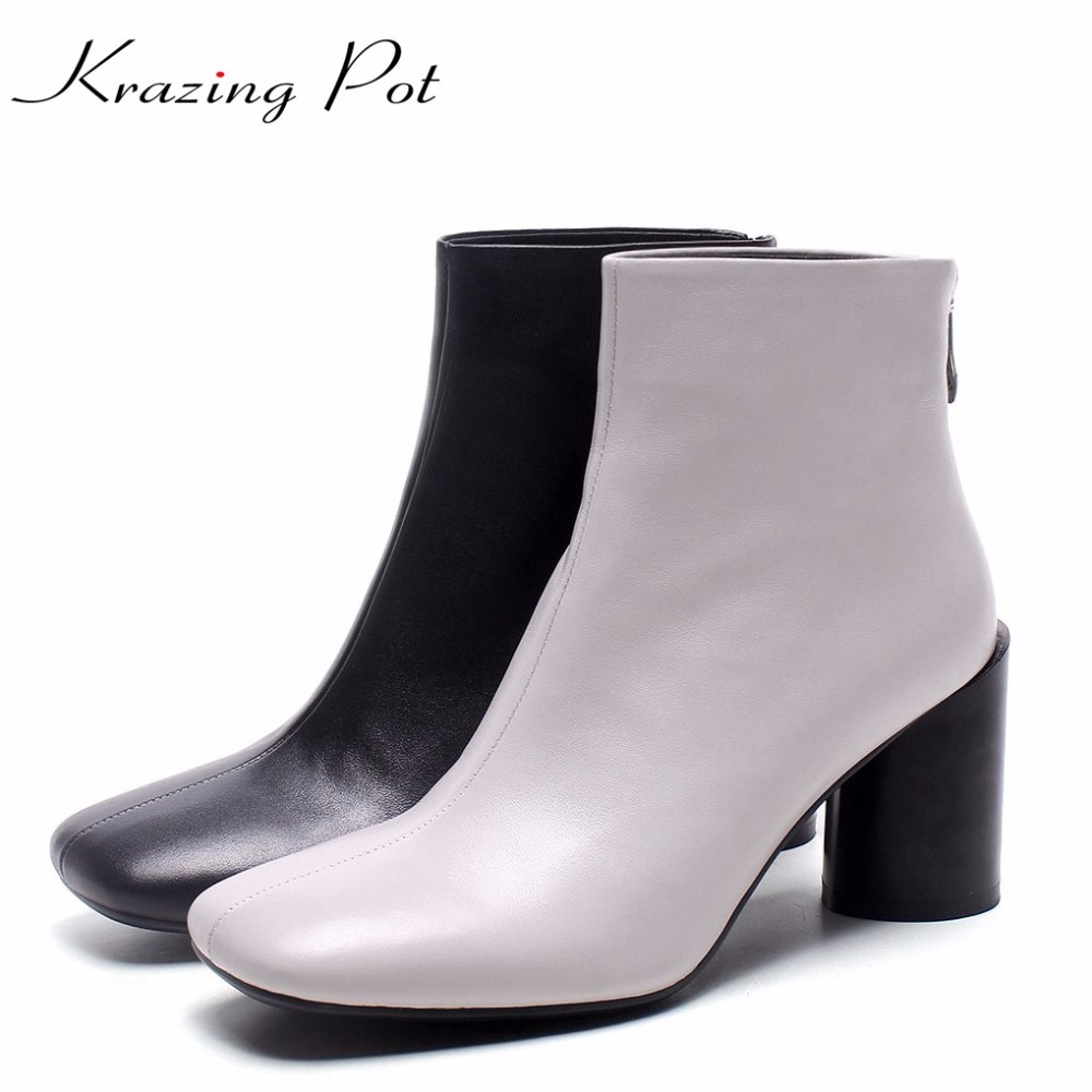 Krazing Pot gladitor vintage retro cow leather high heels streetwear square toe winter boots superstar keep warm ankle boots L85 2018 superstar cow suede streetwear square toe zipper high heels winter boots keep warm office lady ankle boots for women l50