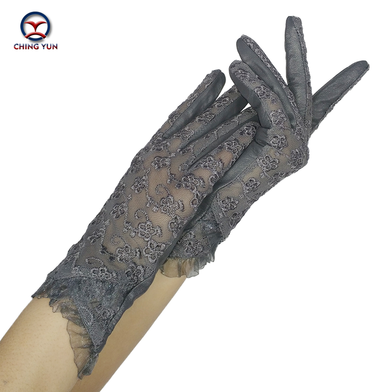 CHING YUN Women Lace Gloves 2019 New Spring Woman Ultra-thin Gloves Leather Solid Women's Fashion Soft Sheepskin Ladies Gloves