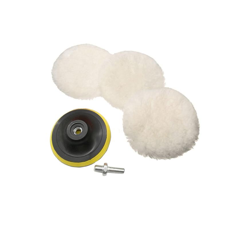 5pcs Wool Polishing Pad Set Waxing Applicator Polishing Disc Buffing Pad Polisher Car Auto Car Paint Care