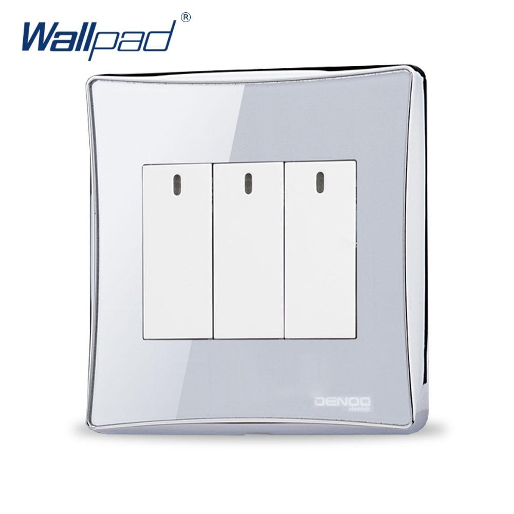 3 Gang 2 way Free Shipping Wallpad Luxury Wall Switch Panel LED Indicator One-Side Click Light Switch 110~250V  free shipping wallpad luxury wall switch panel 6 gang 2 way switch plug socket 197 72mm 10a 110 250v