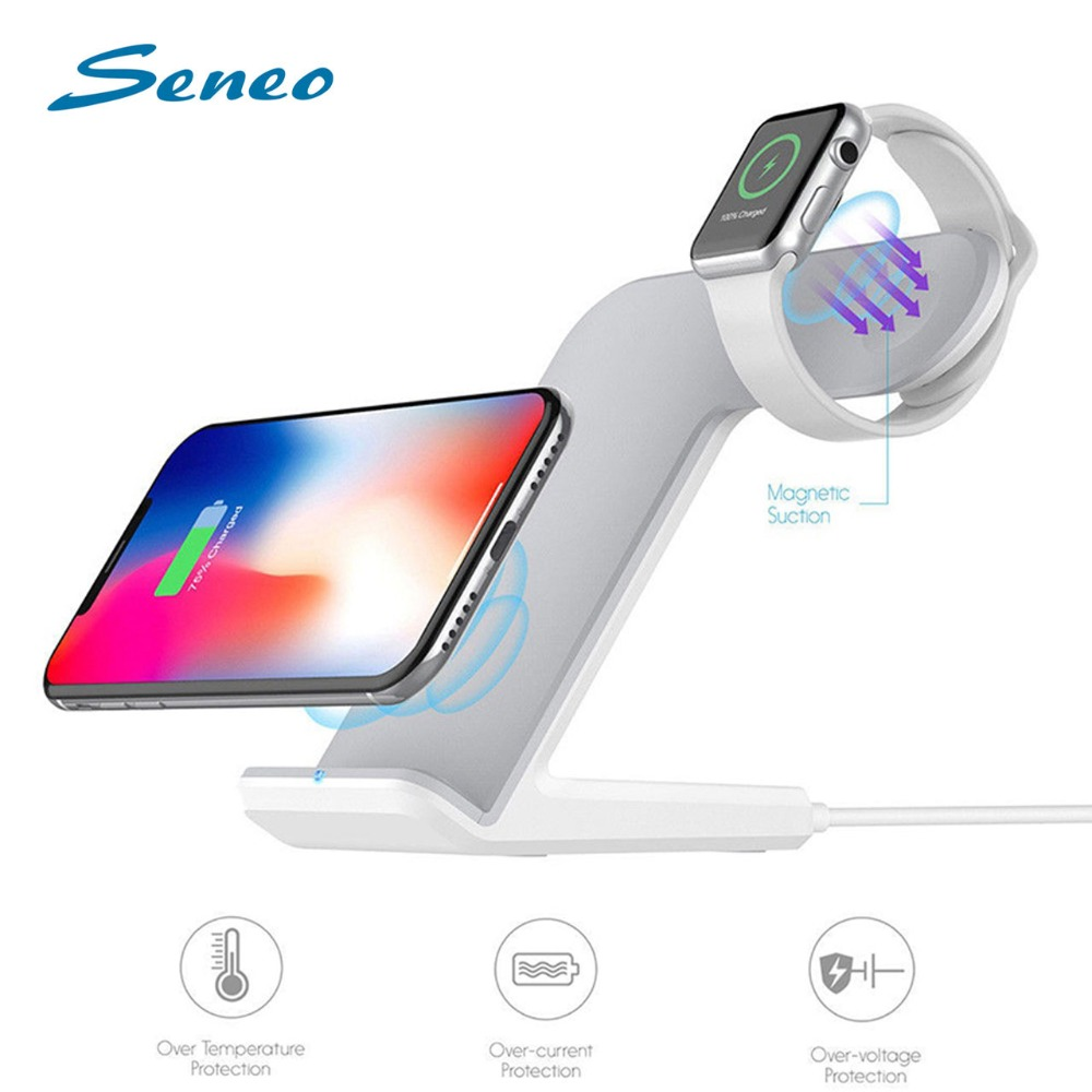 2 in 1 Wireless Charging Bracket Phone Holder Stand 2W For Apple Watch 10W/7.5W/5W for iPhone Smart Charging Dock Station Stand