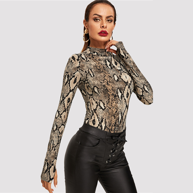 Snake Print, High Neck, Casual Bodysuit, Women's Long Sleeve Bodysuit, Fashion Vintage Bodysuit 15