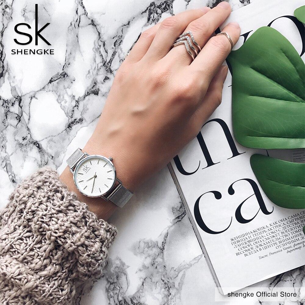 3ccac110168 SK Super Slim Tira de Malha de Aço Inoxidável Relógios Senhoras Relógio de  Pulso Das Mulheres Top Marca de Luxo Relógio Ocasional Senhora Relogio  feminino ...